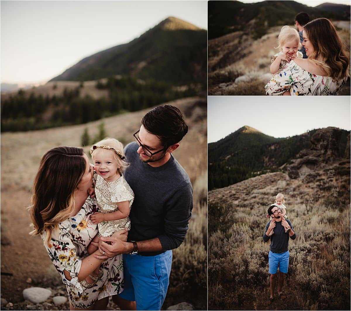 Sunset Valley Family Session Parents with Daughter