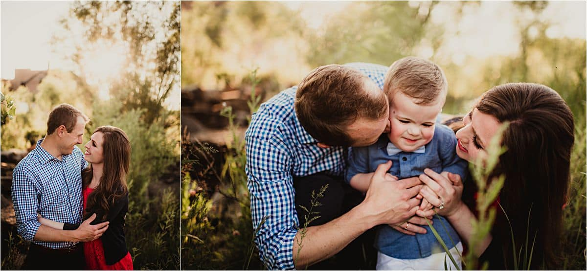Parents Hugging Son