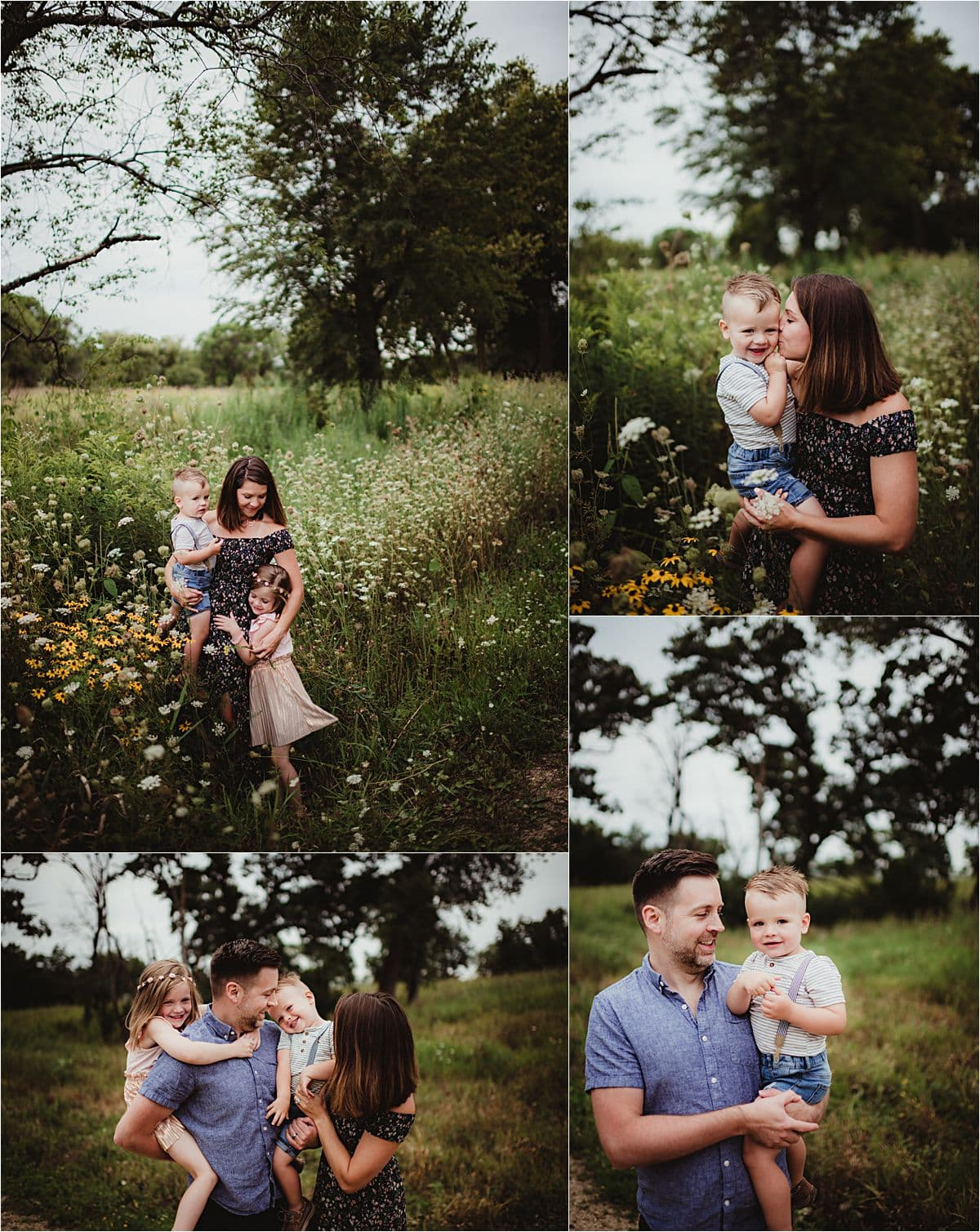 Wildflower Marsh Family Session Collage Family in Field