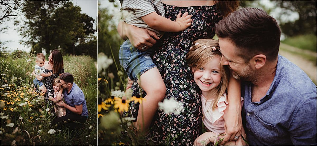 Wildflower Marsh Family Session Close Up Family Snuggling