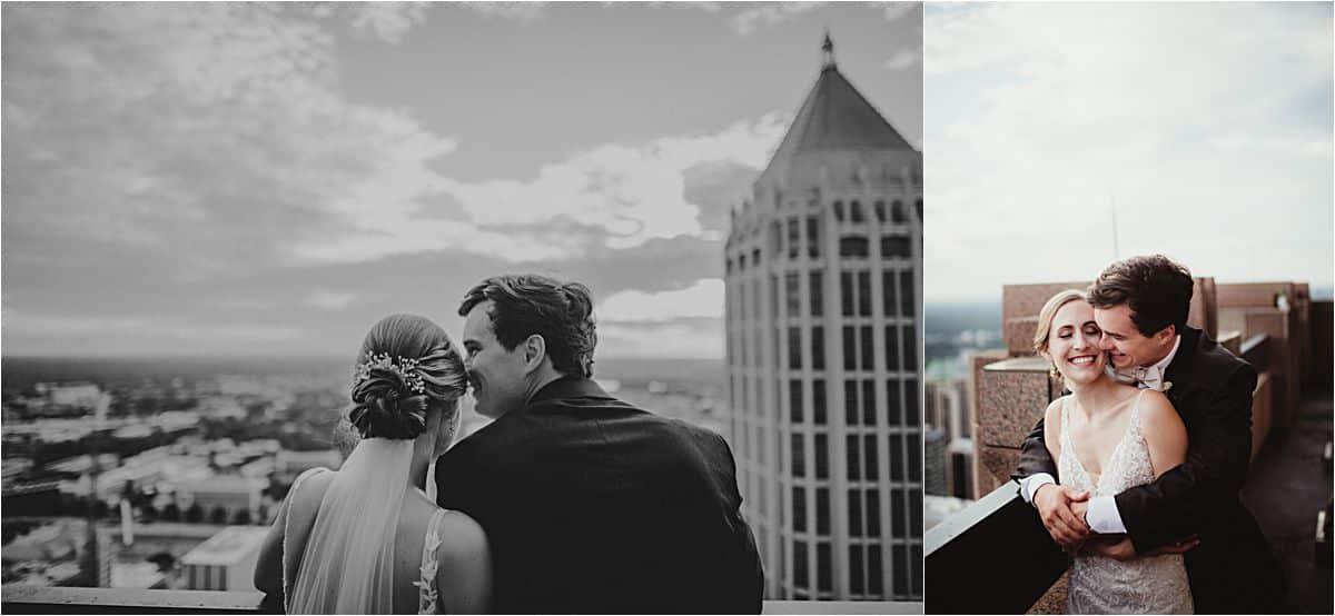 Bride and Groom Overlooking City