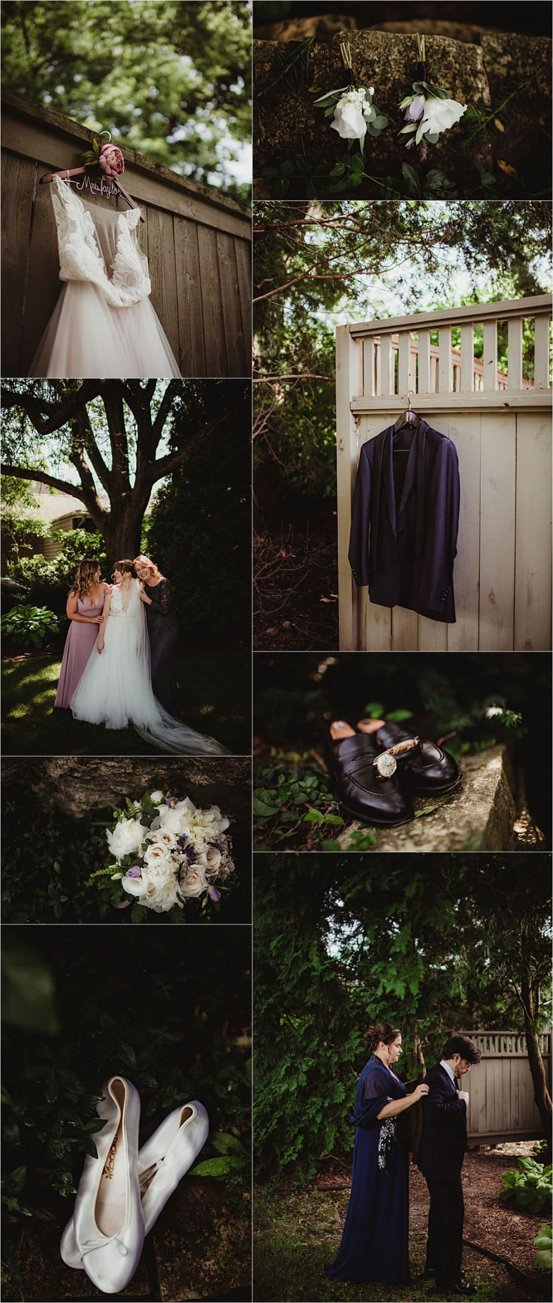 Mauve and Navy Wedding Getting Ready Details