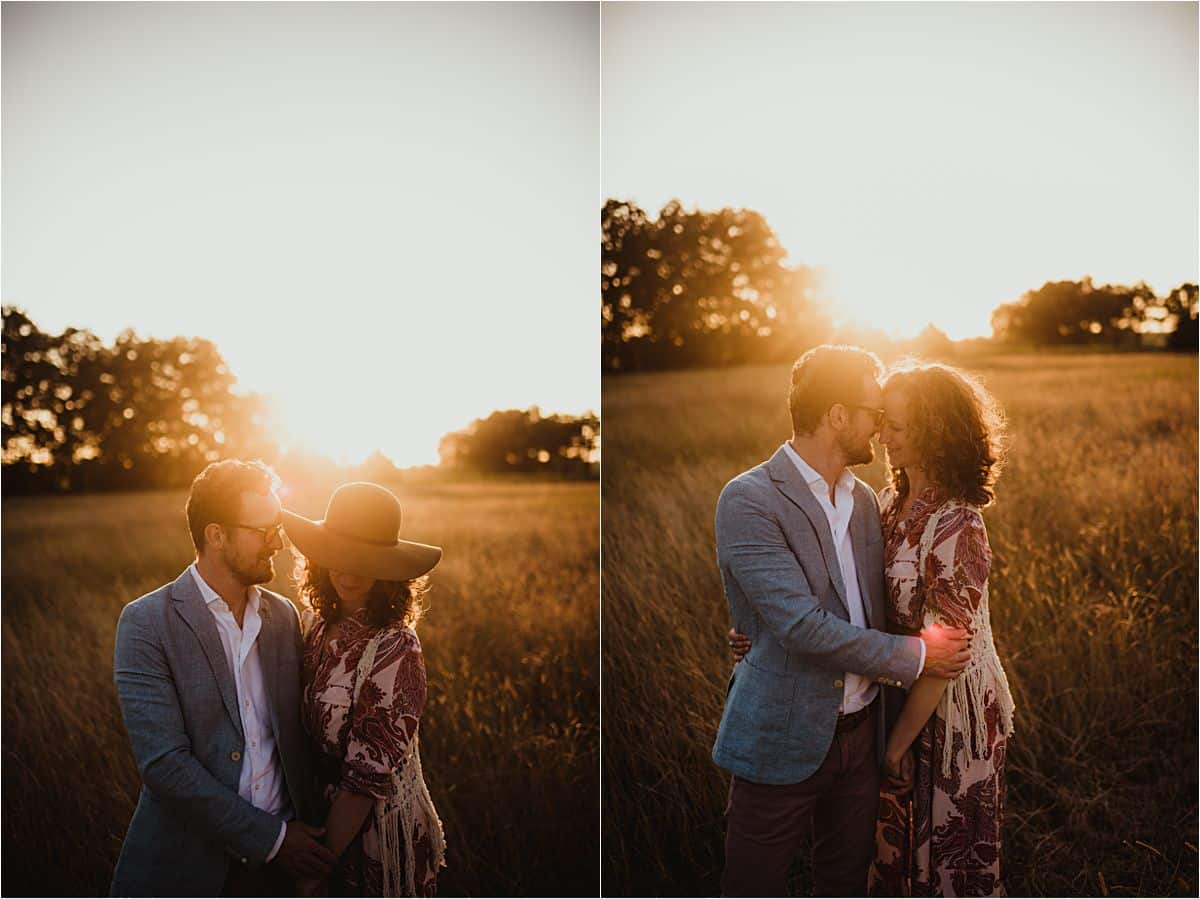 Sunset Field Family Session Couple Snuggling