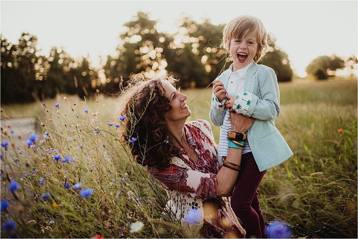 Mom with Son in Field