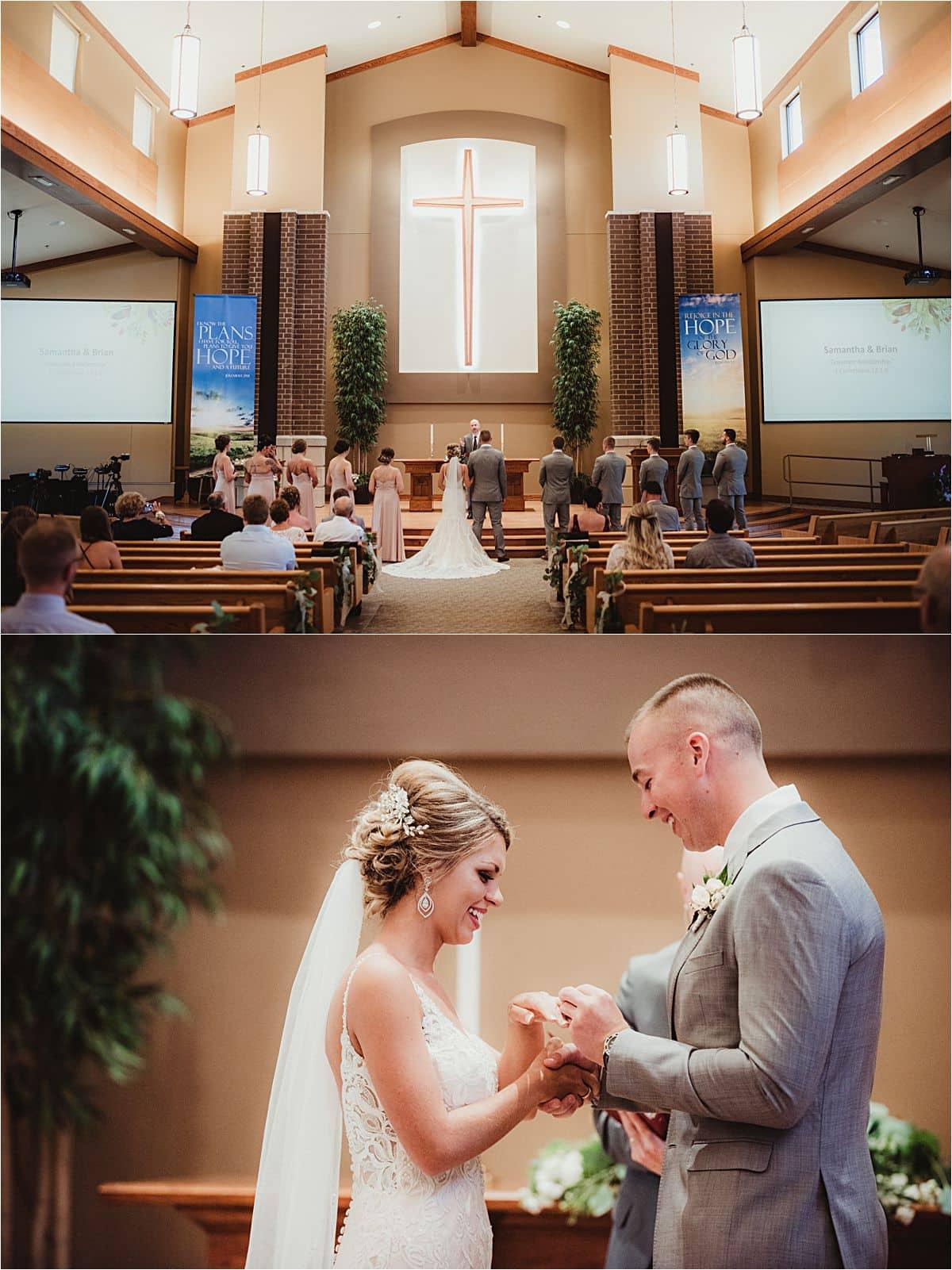 Blush and Ivory Summer Wedding Church Ceremony