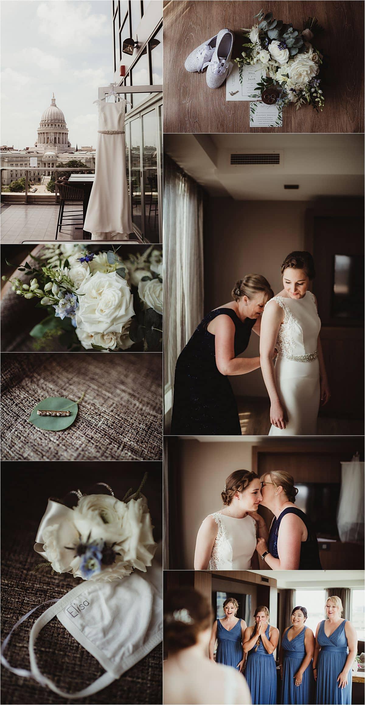 Light Blue and Sage Wedding Bride Getting Ready