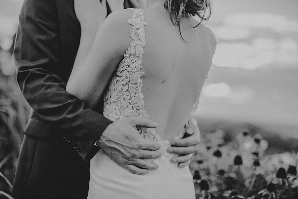Close Up Bride Groom Hugging