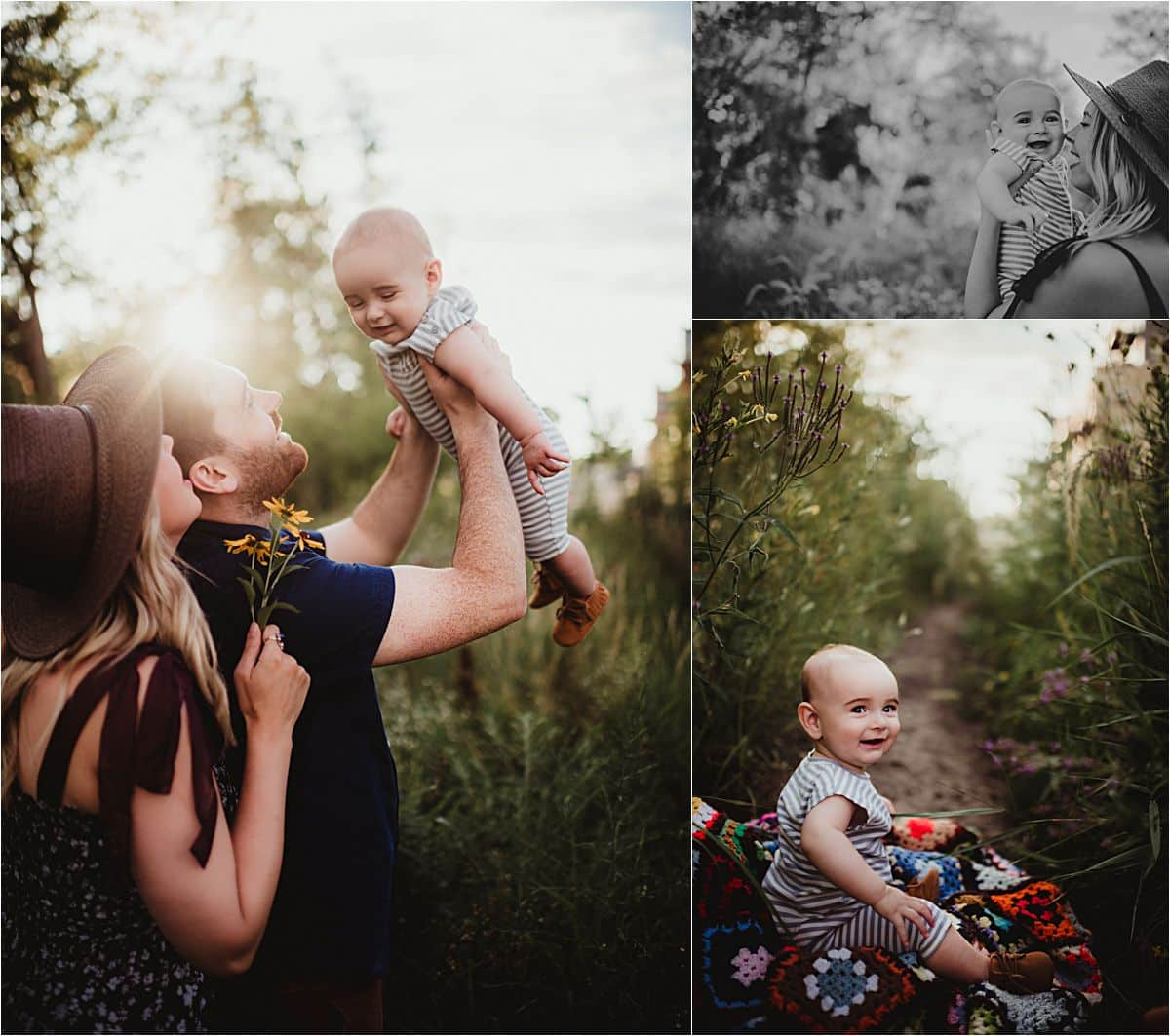Urban Nature Family Session Parents With Little Boy