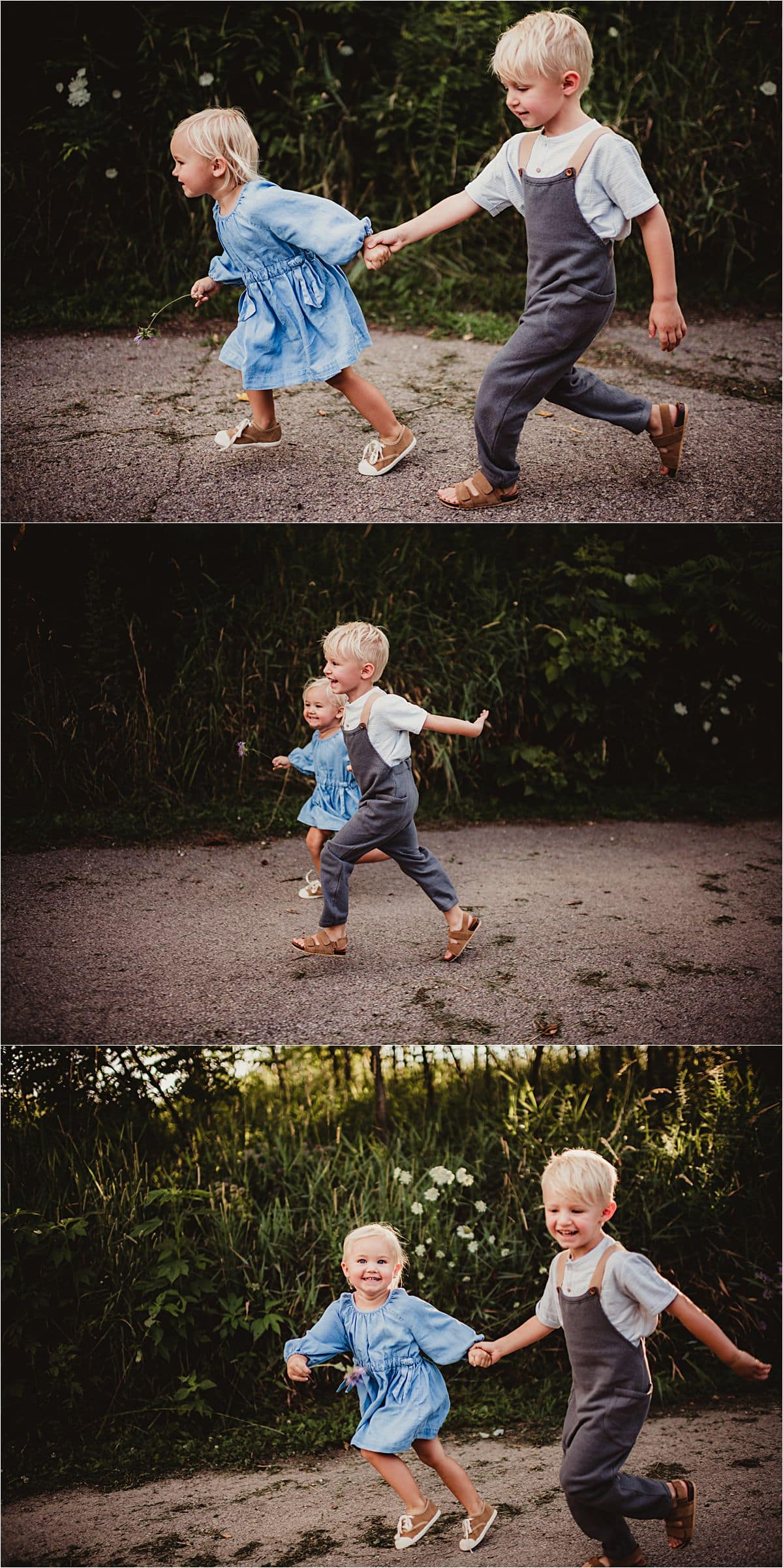 Brother and Sister Holding Hands Running