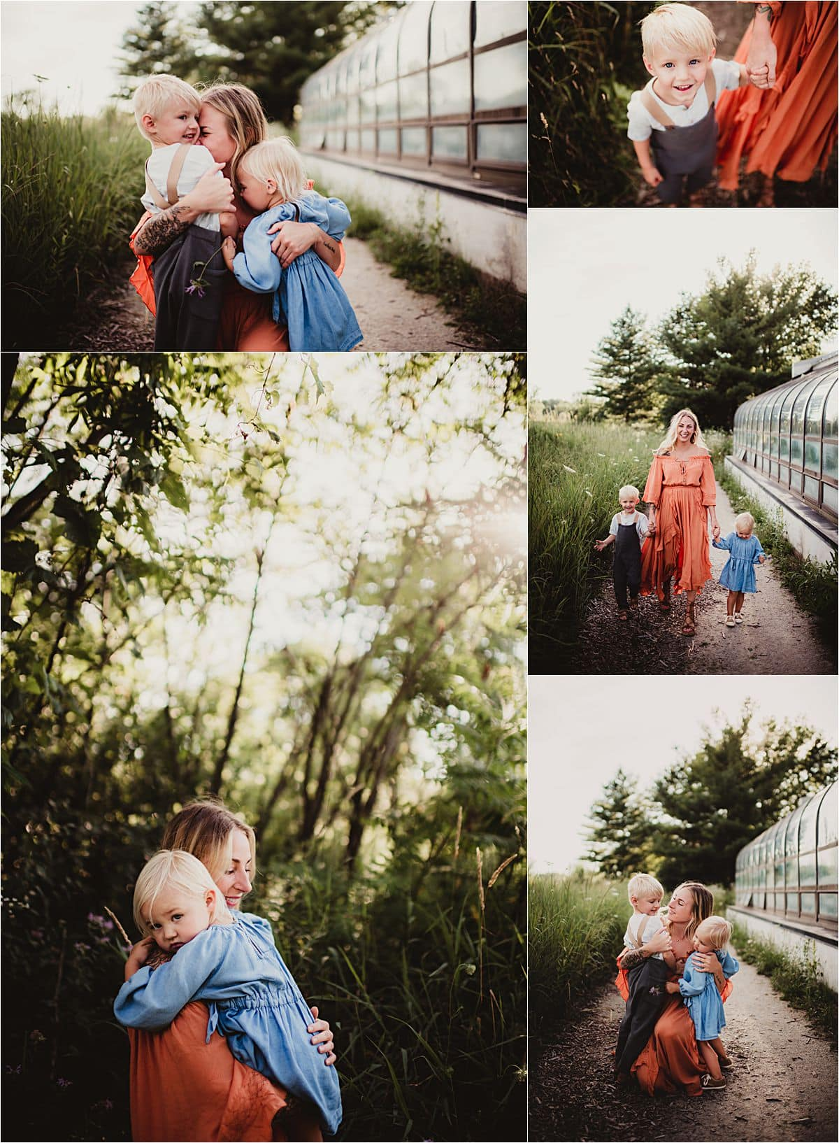 Outdoor Summer Family Session Collage Family Snuggles