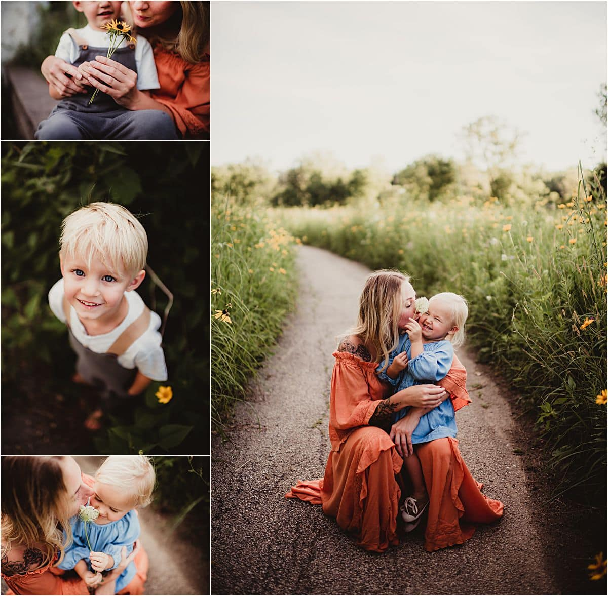 Outdoor Summer Family Session Close Up Mama with Kids