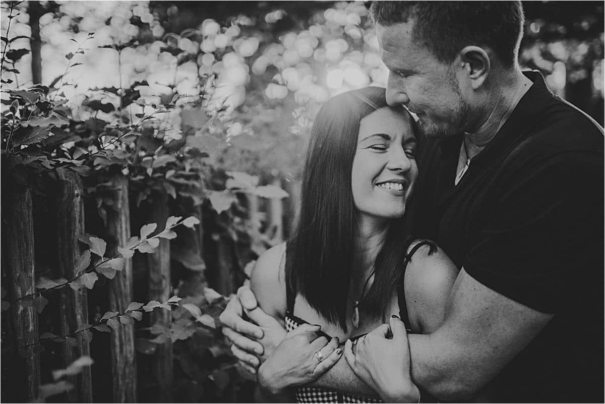 Black and White Image Couple Hugging