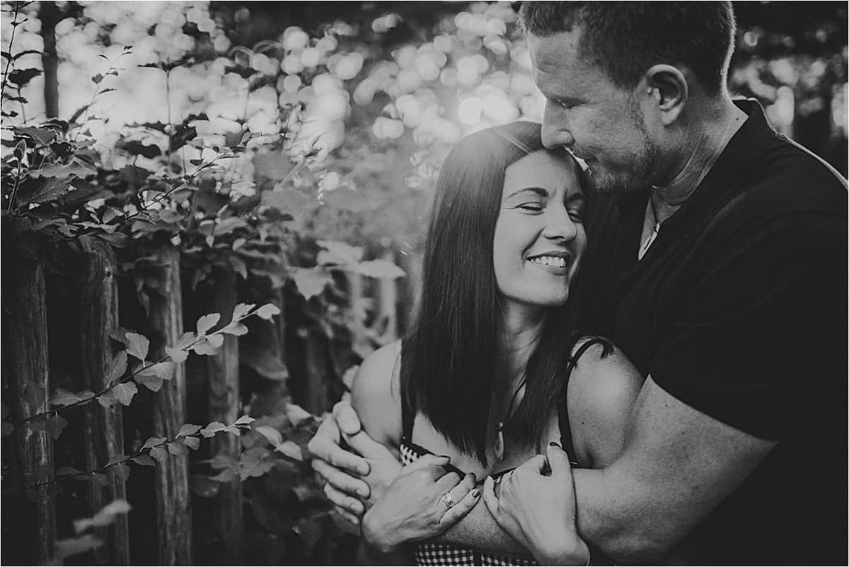 European Couple's Portrait Session Black and White Image Couple Hugging