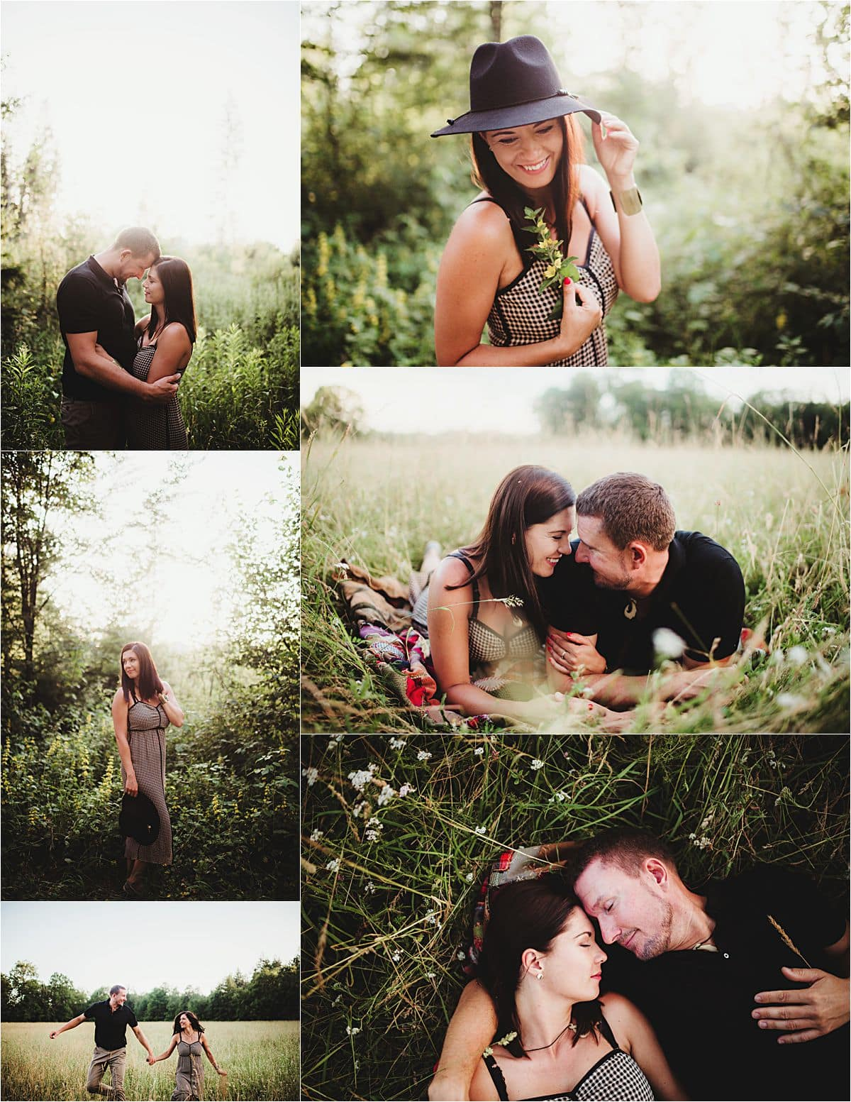 European Couple's Portrait Session Collage of Couple in Field
