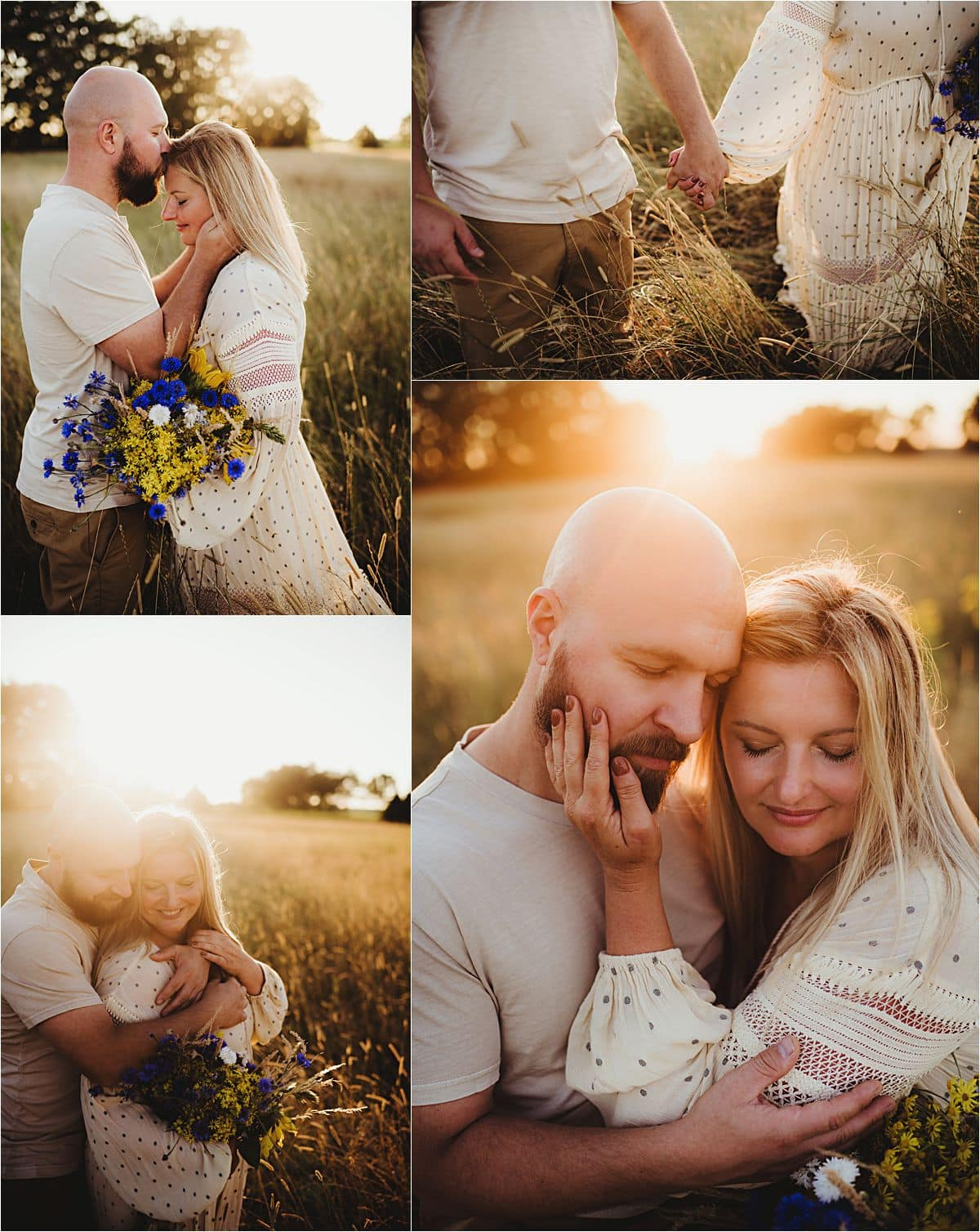 Sunset Portrait Session with Pets Couple Snuggling at Sunset