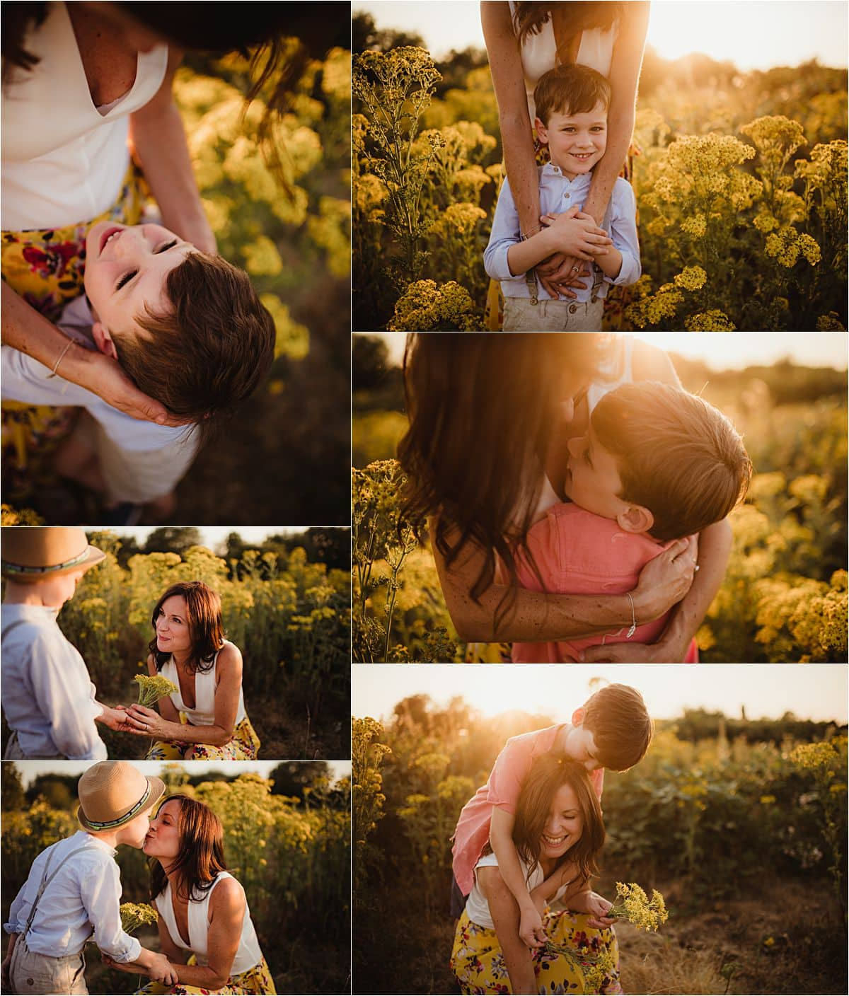 Golden Hour Session Collage Mama with Sons