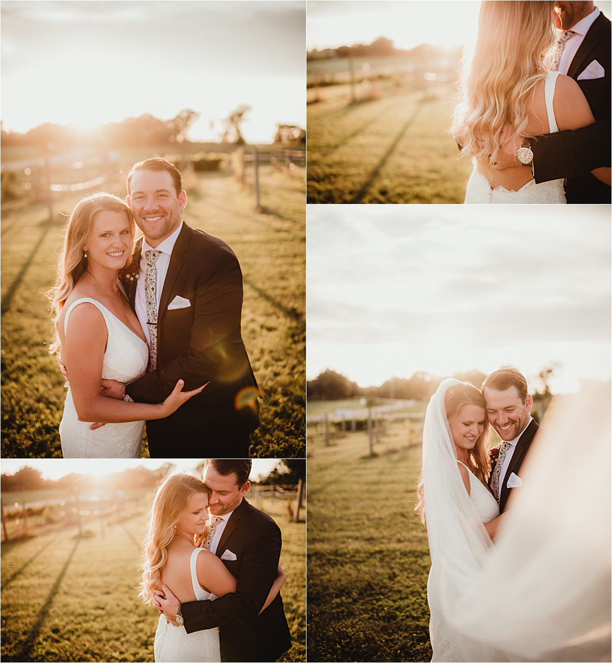 Intimate Outdoor Summer Wedding Couple in Field at Sunset