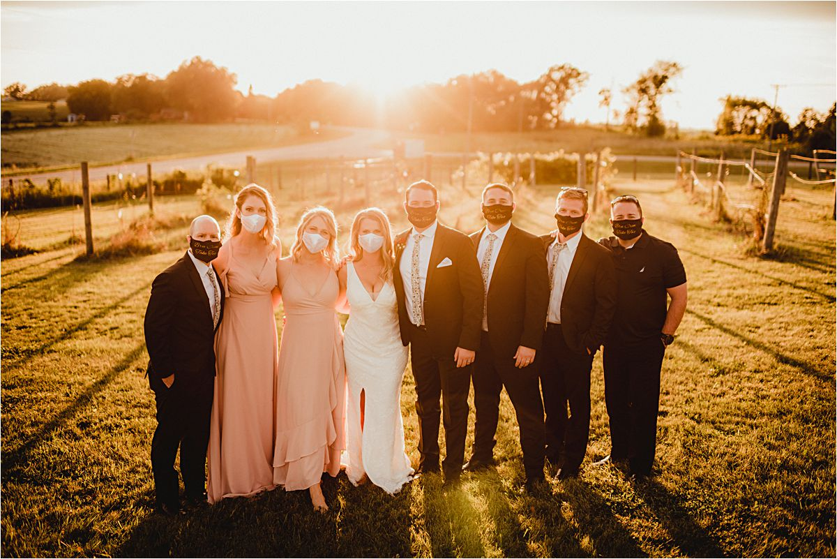 Intimate Outdoor Summer Wedding Party with Masks