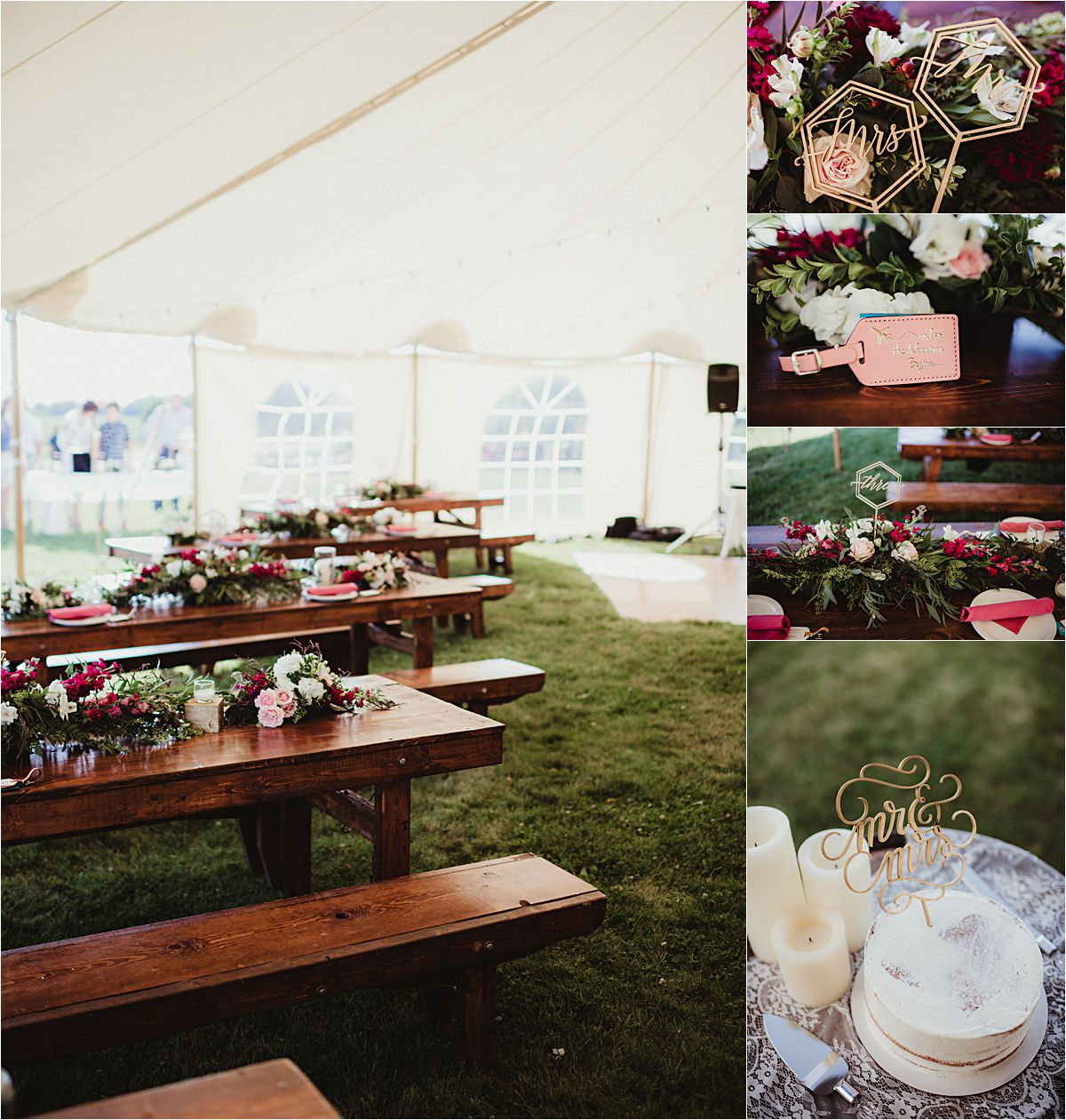Intimate Outdoor Summer Wedding Reception Details