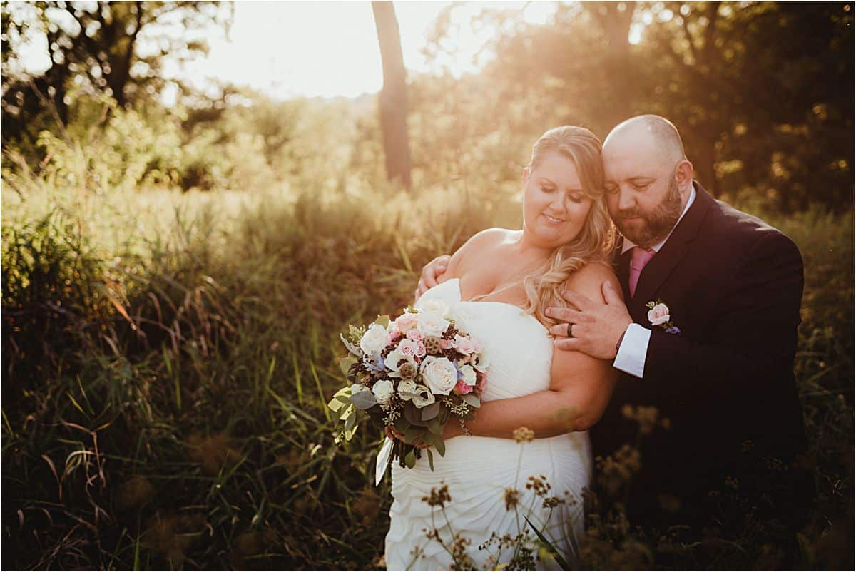 Outdoor Summer Mircrowedding Couple Snugging at Sunset