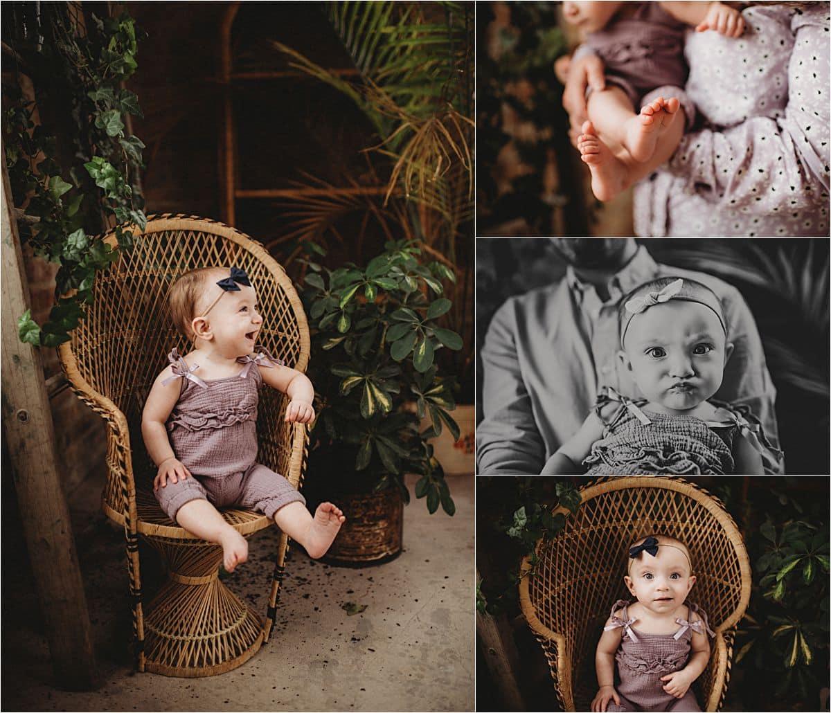 In Studio Milestone Session Baby Girl in Purple Romper