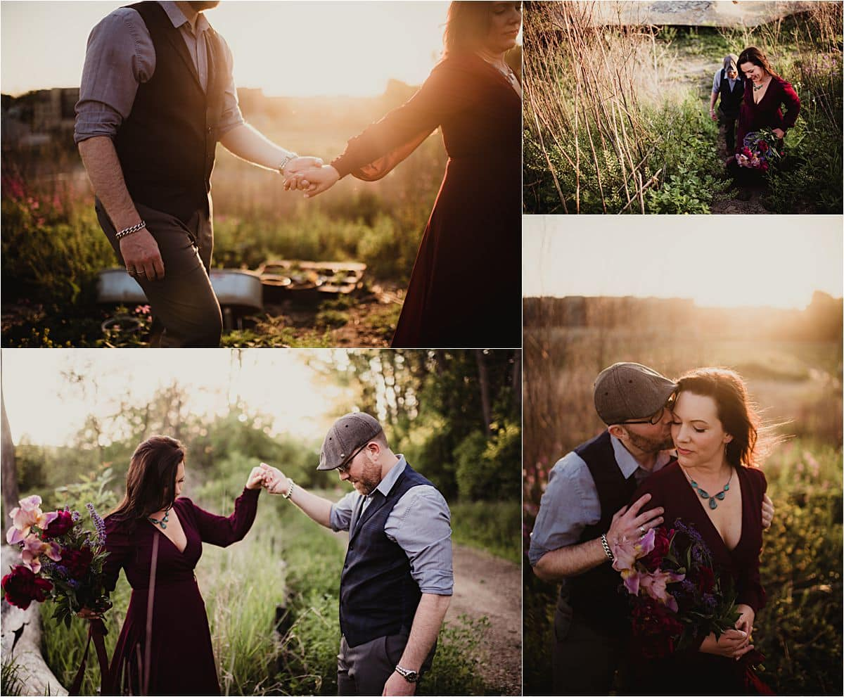Romantic Summer Engagement Session Couple in Field at Sunset