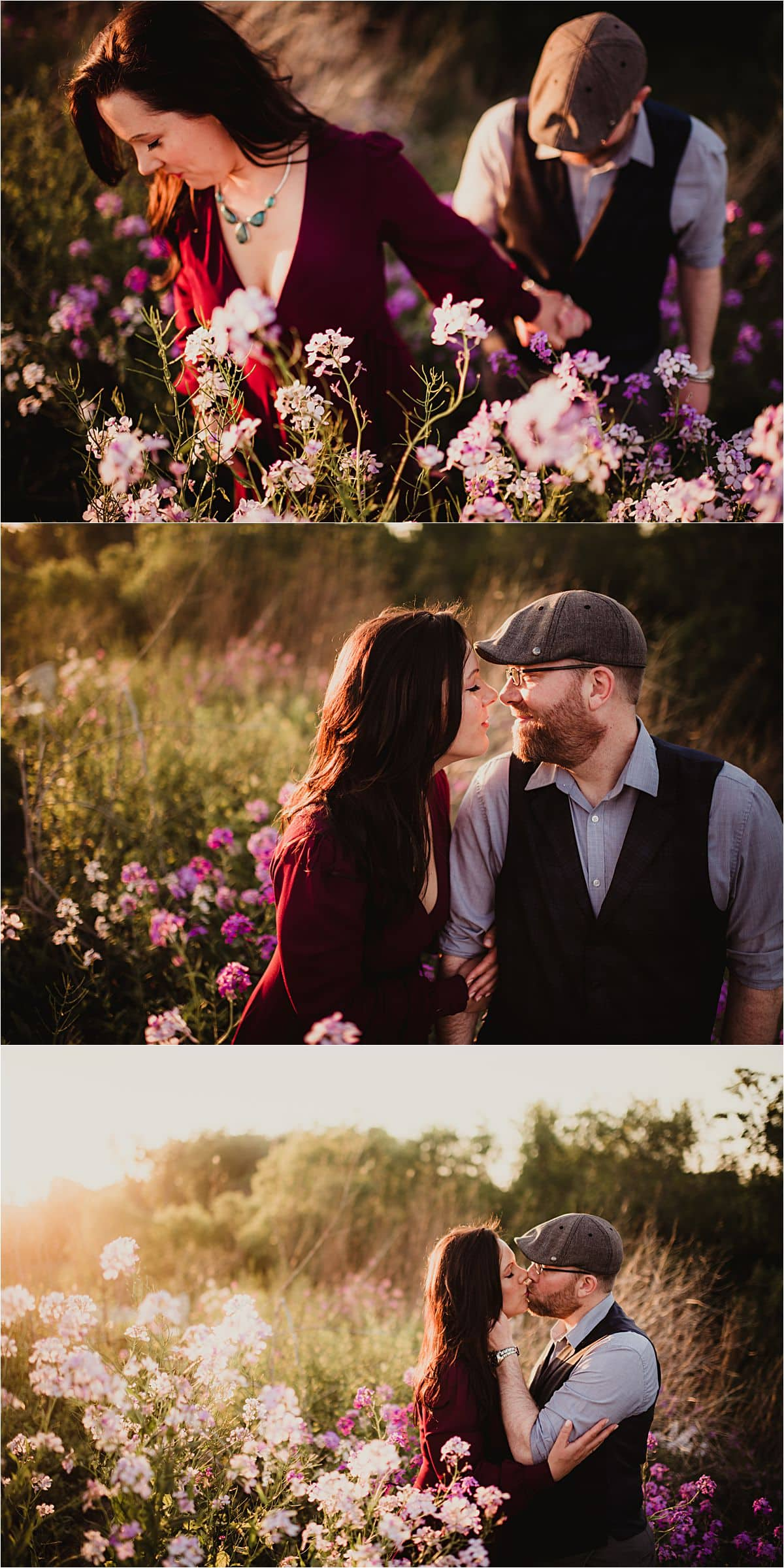 Romantic Summer Engagement Session Close Ups of Couple