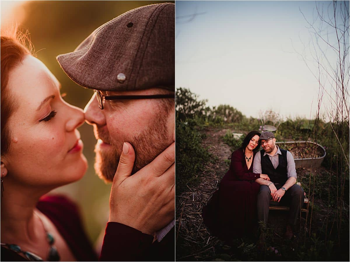 Romantic Summer Engagement Session Couple Snuggling