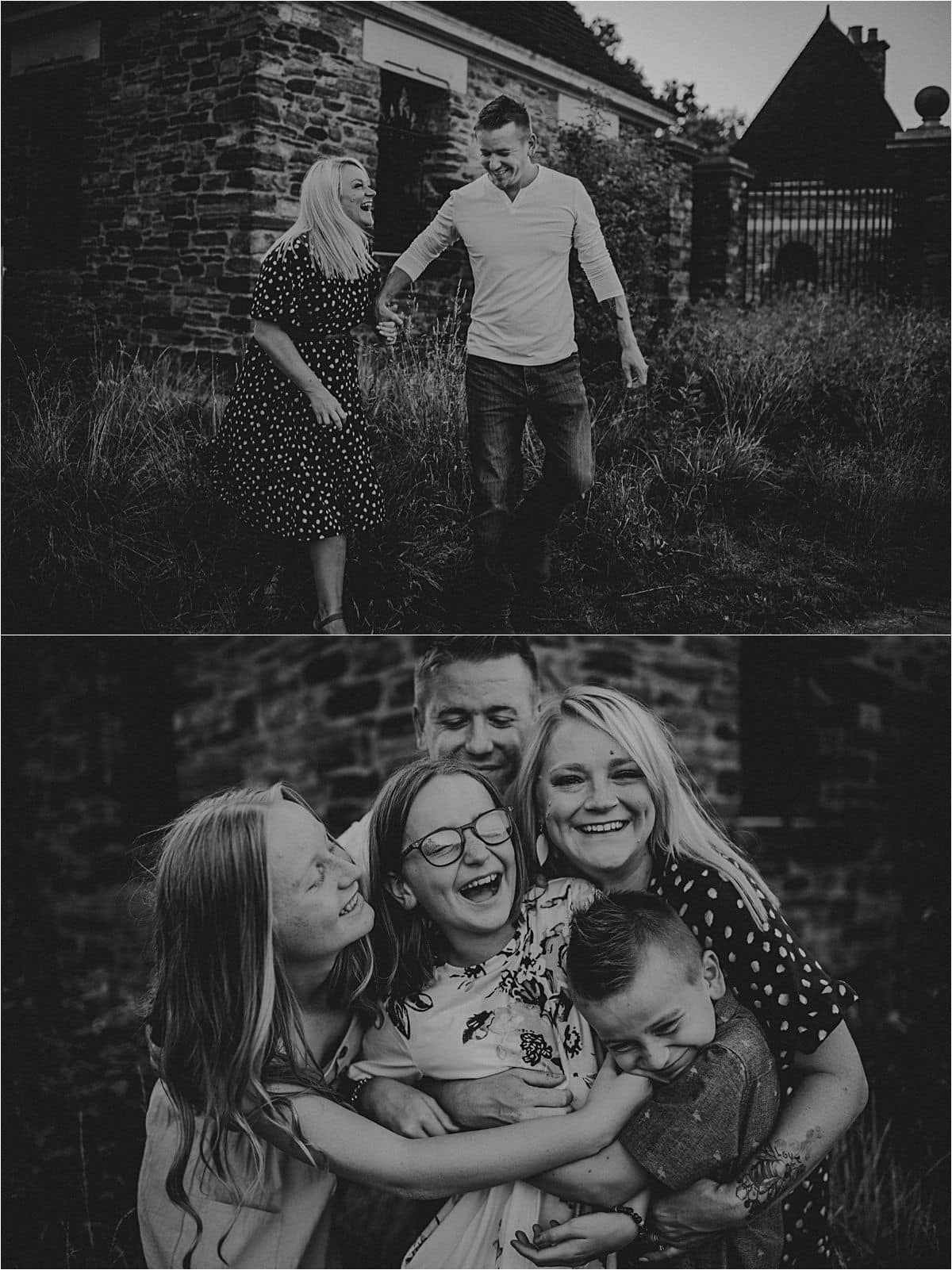 Woodland Family Adventure Session Family Laughing