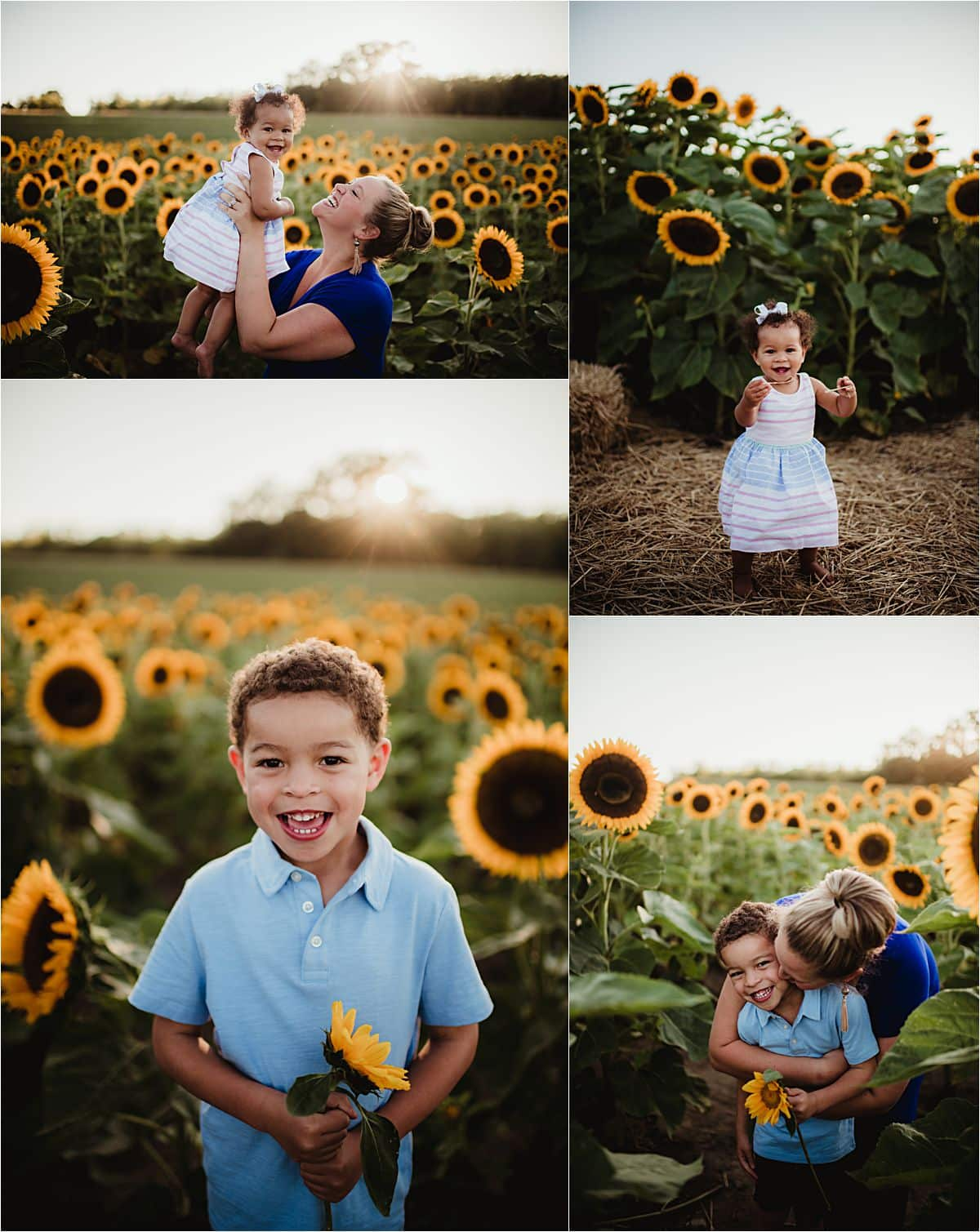 Mama and Kids Session in Sunflowers