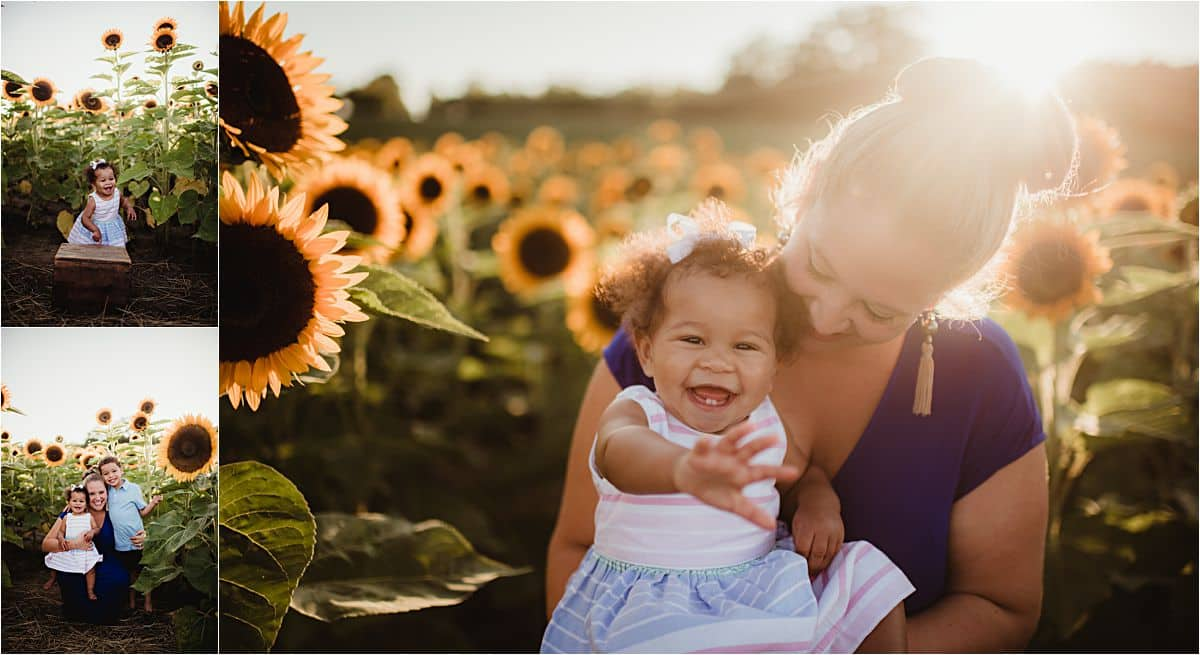 Mama and Kids Session in Sunflower Field