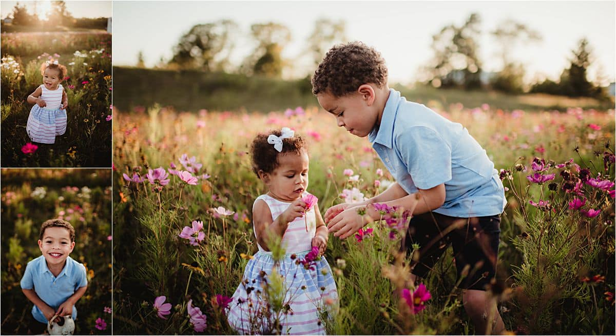 Mama and Kids Session Brother and Baby Sister in Flowers