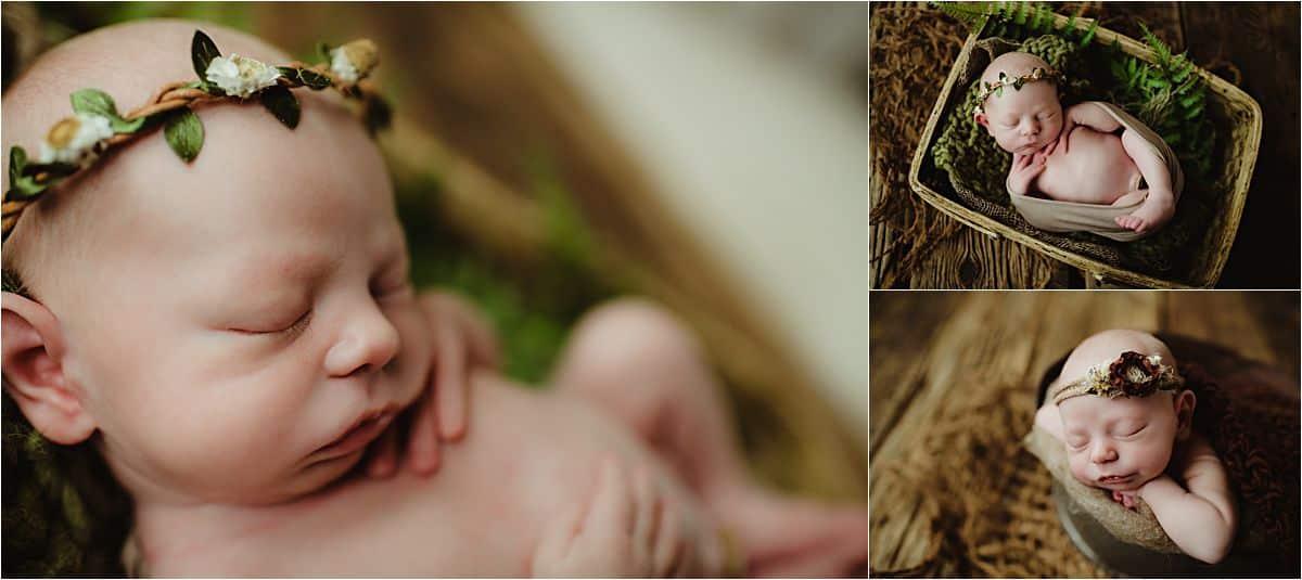 Newborn Girl Studio Session Newborn in Floral Crown