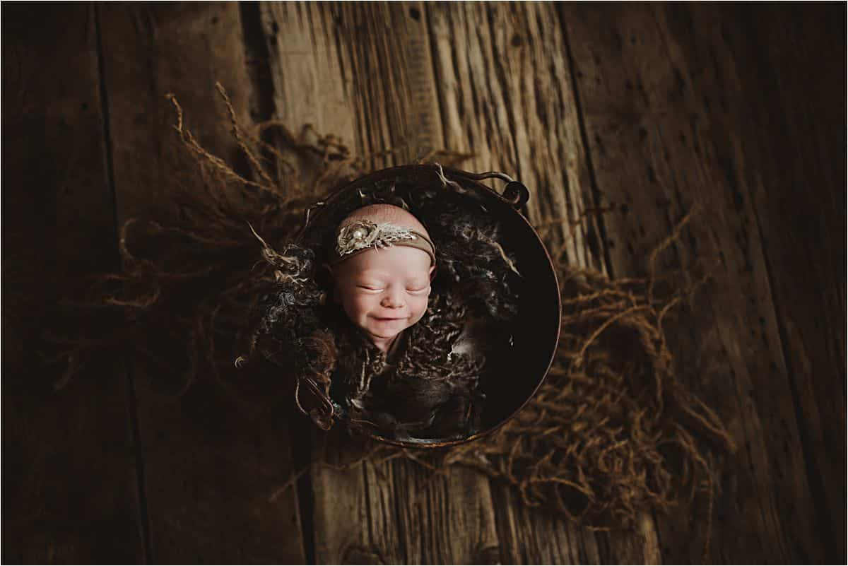 Newborn Girl in Bowl
