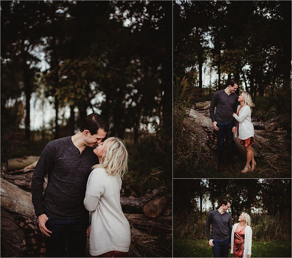 Moody Fall Engagement Session Couple Snuggling by Tree