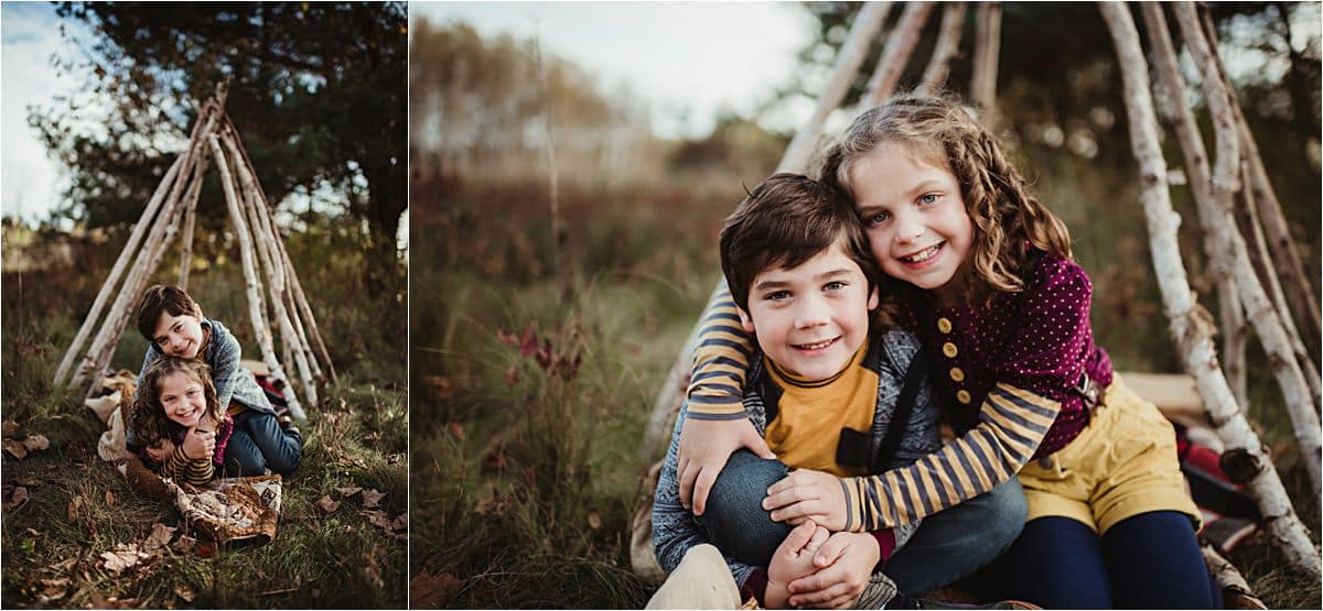 Outdoor Fall Siblings Session Brother Sister Wood Teepee