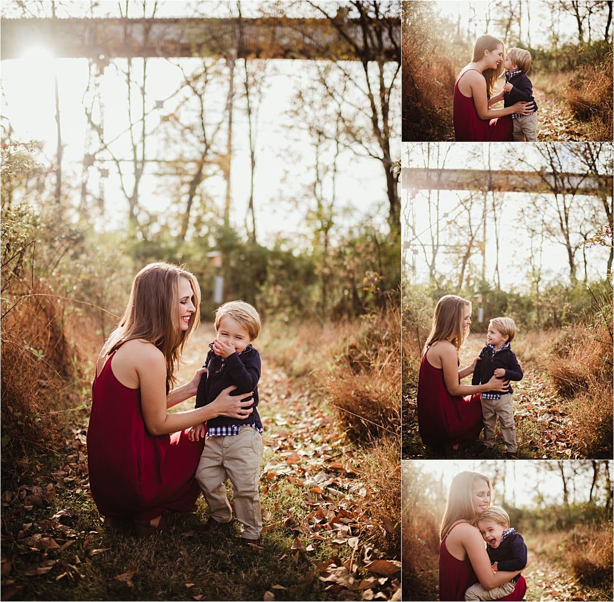 Fall Sunset Mama and Son Session Collage