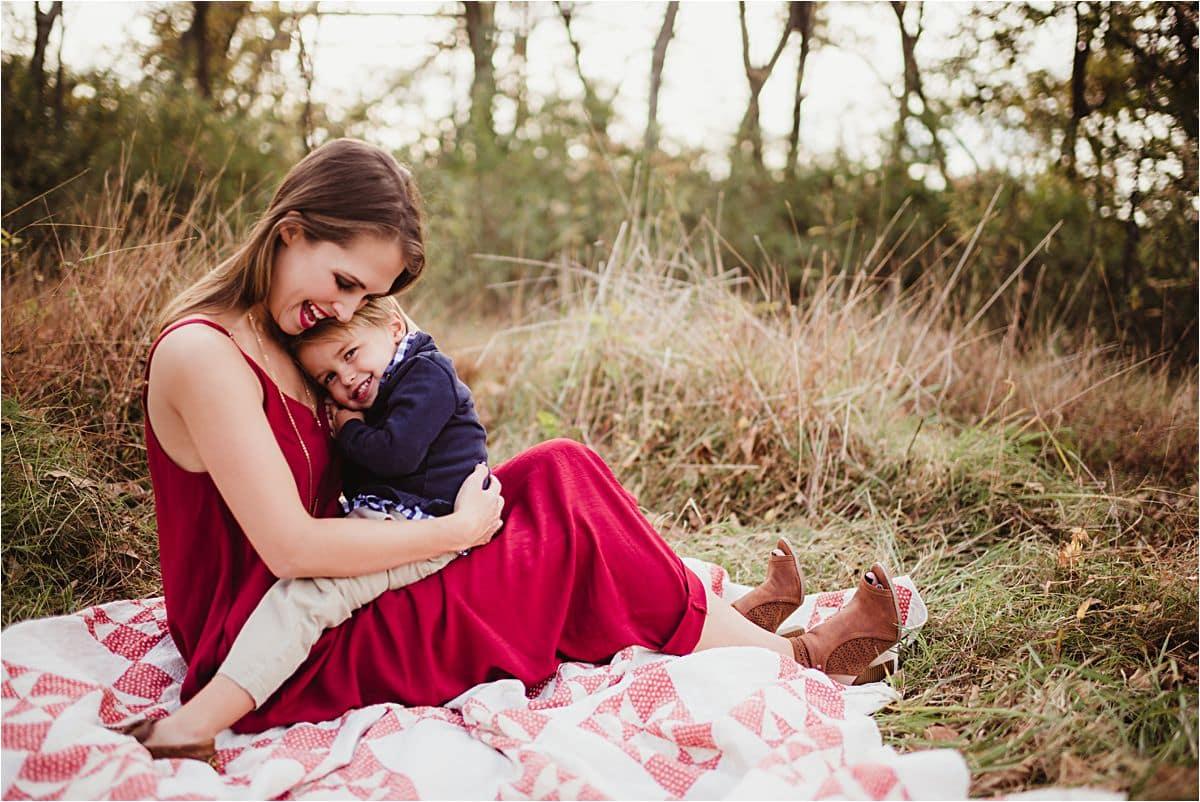 Mama Hugging Son