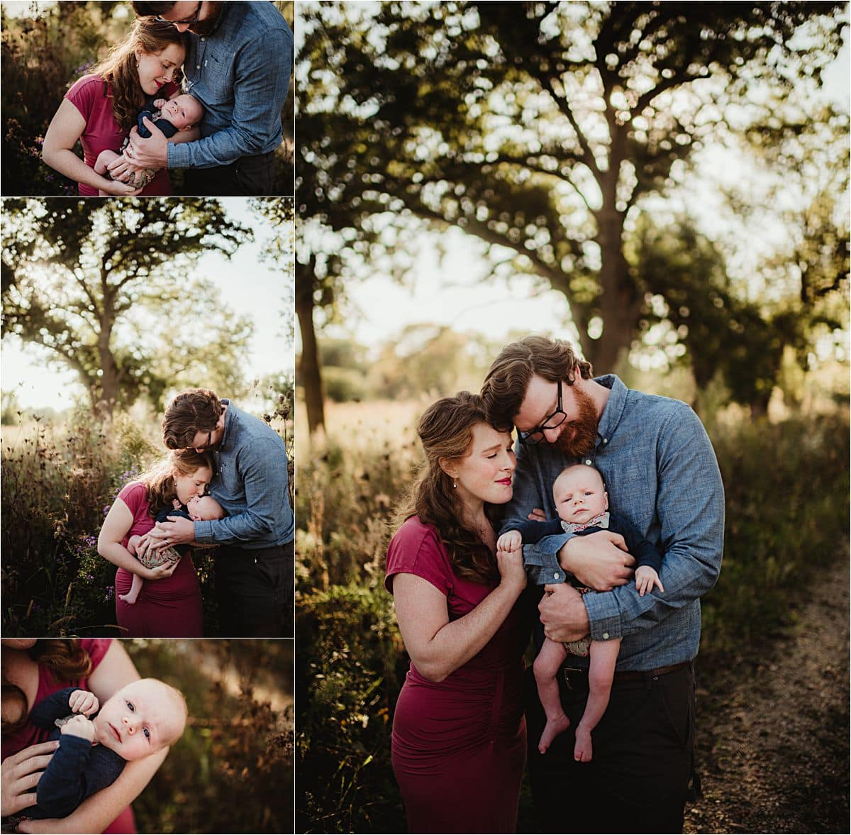 Outdoor Newborn Boy Session Collage Parents with Newborn
