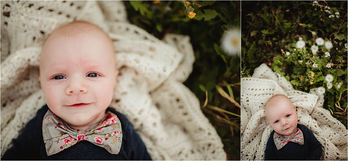 Outdoor Newborn Boy Session Close Up Newborn Smiling