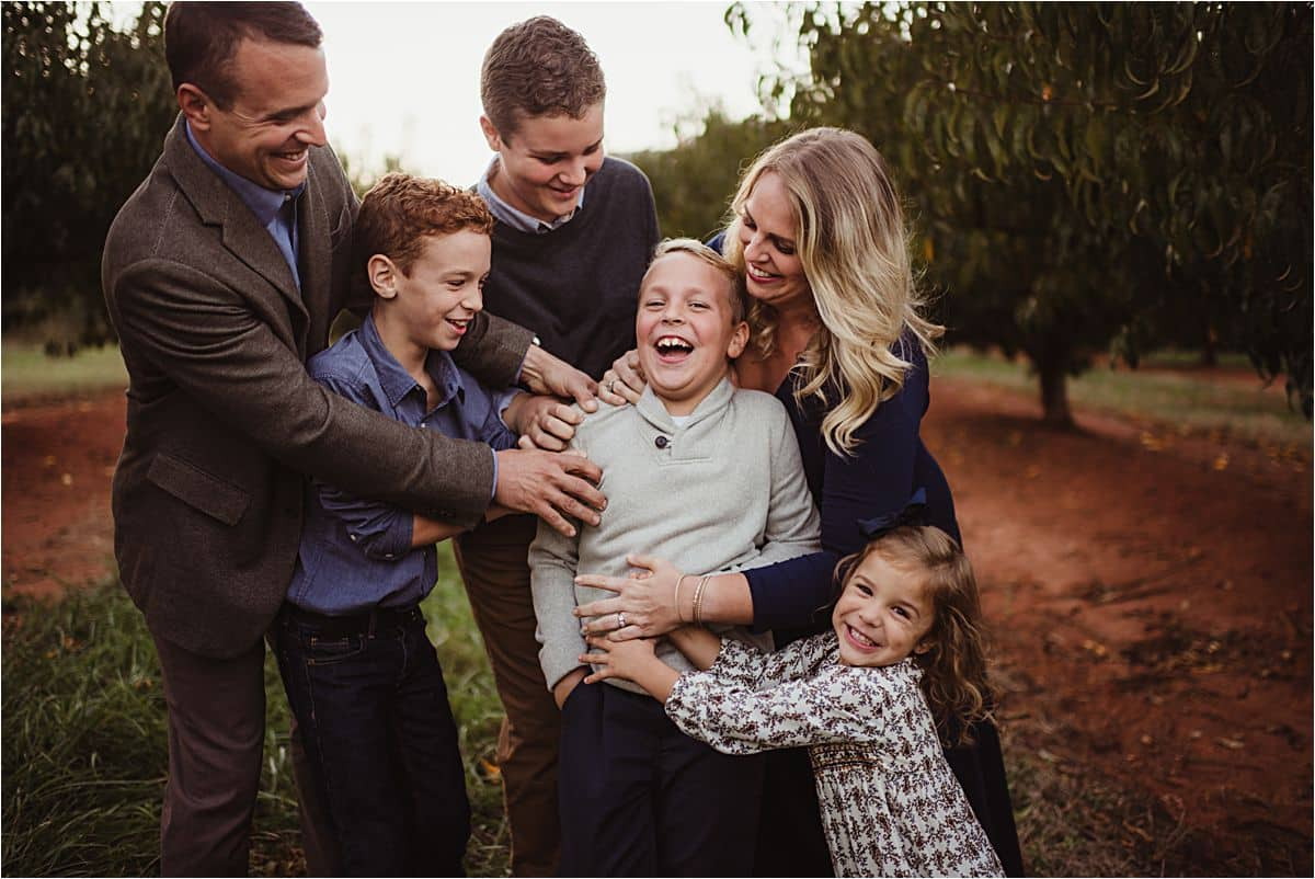 Late Fall Family Session Family Hugging Laughing