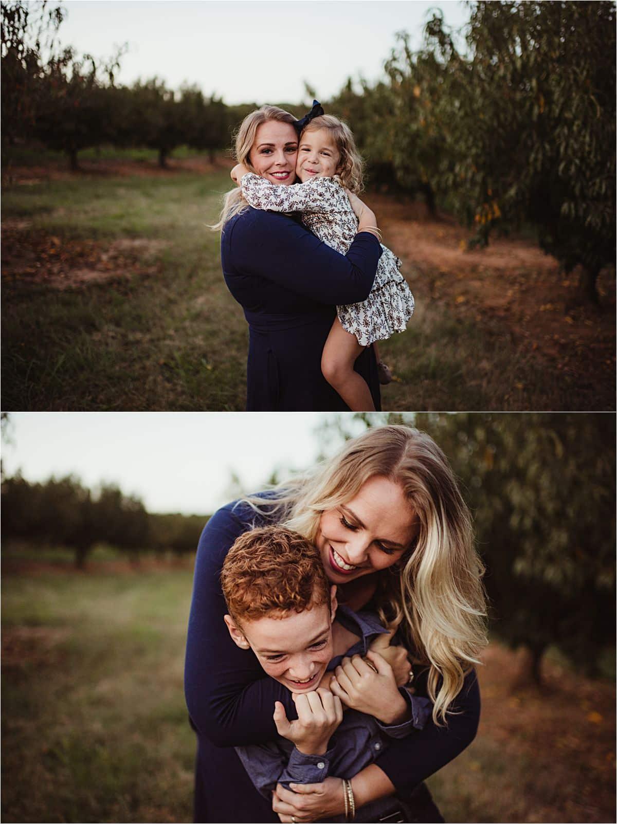Mom Hugging Kids