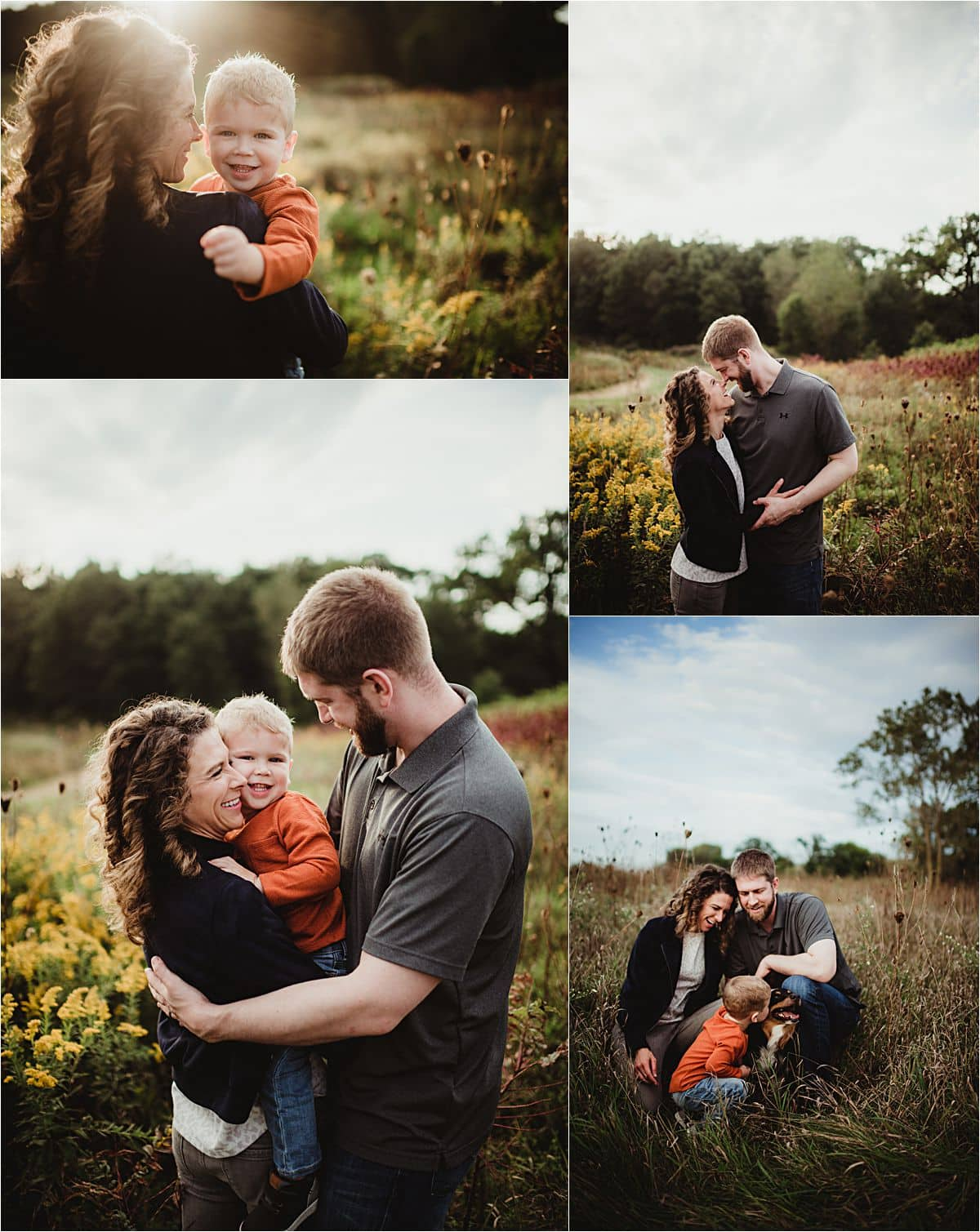 Collage of Family in Field