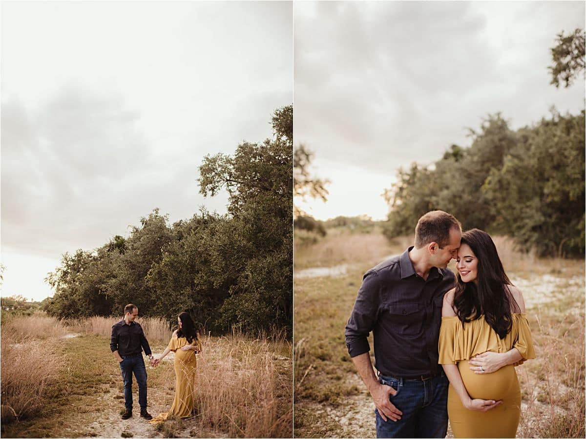 Fall Maternity Family Session Pregnant Mama with Husband
