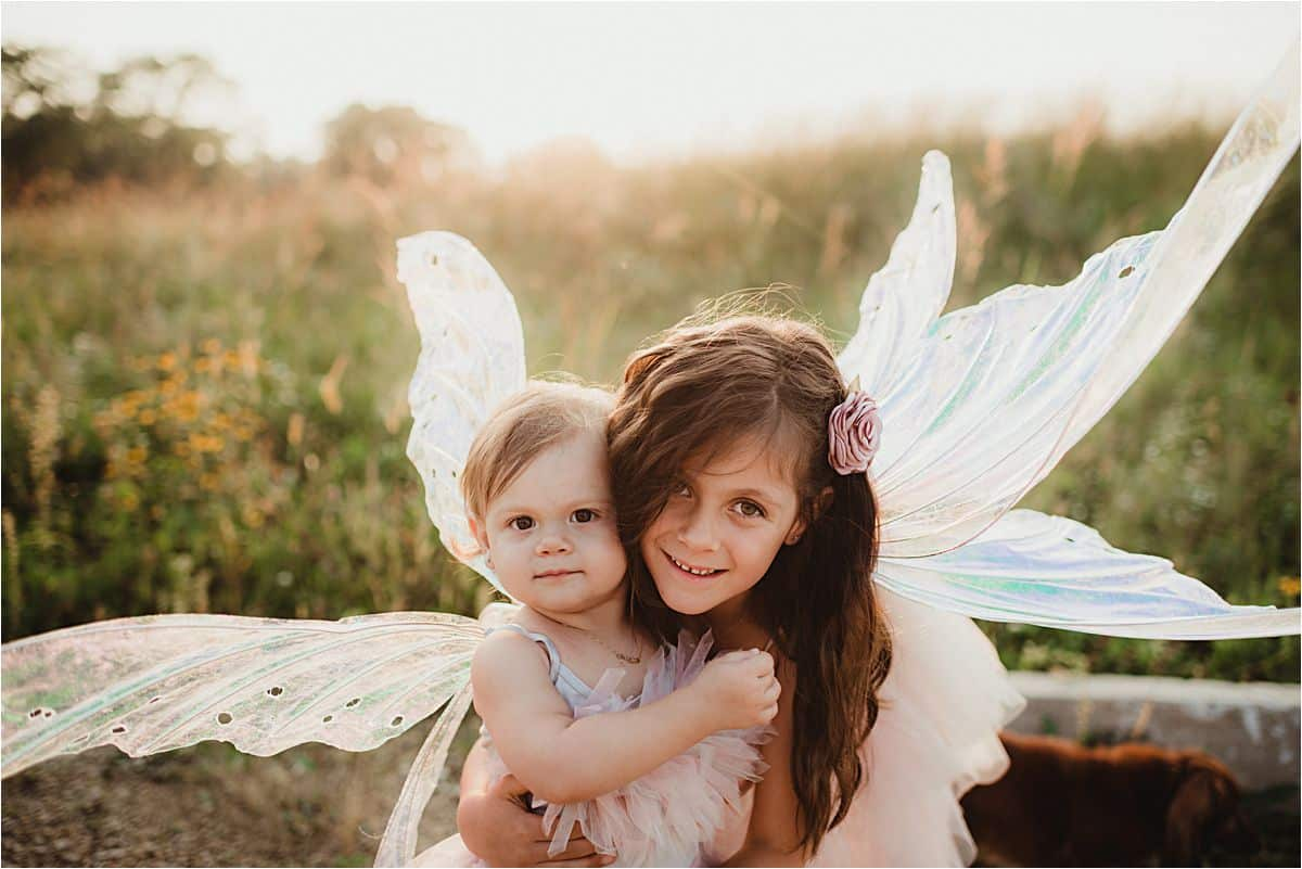 Siblings Fairy Family Session Sisters Hugging