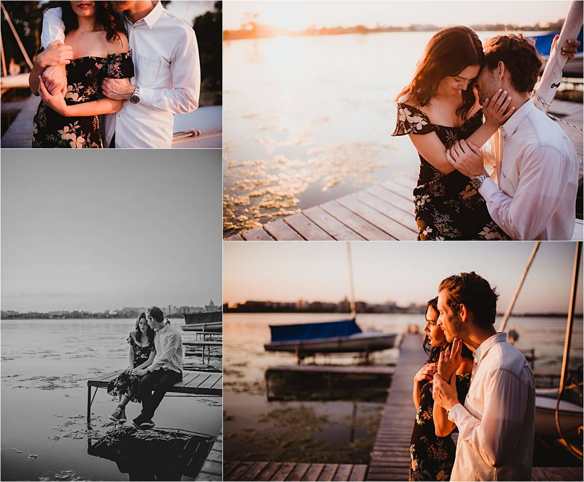 Summer Engagement Session Couple on Pier Sunset