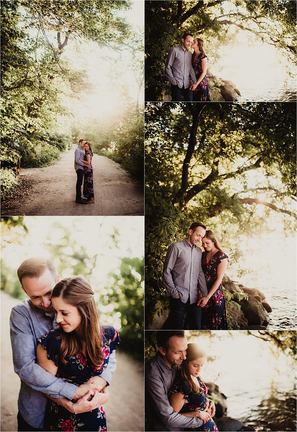 Waterfront Engagement Session Couple on Path Near Trees