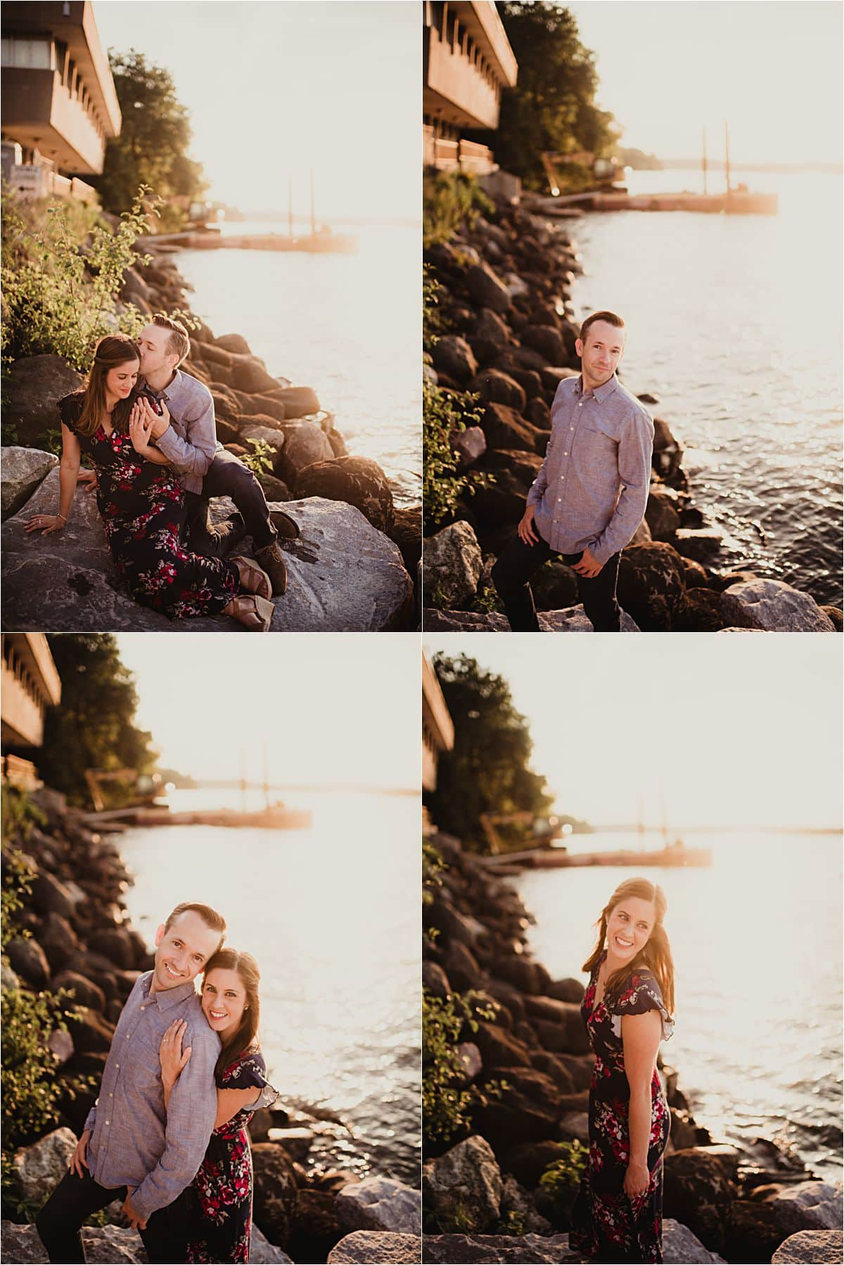 Waterfront Engagement Session Couple by Lake