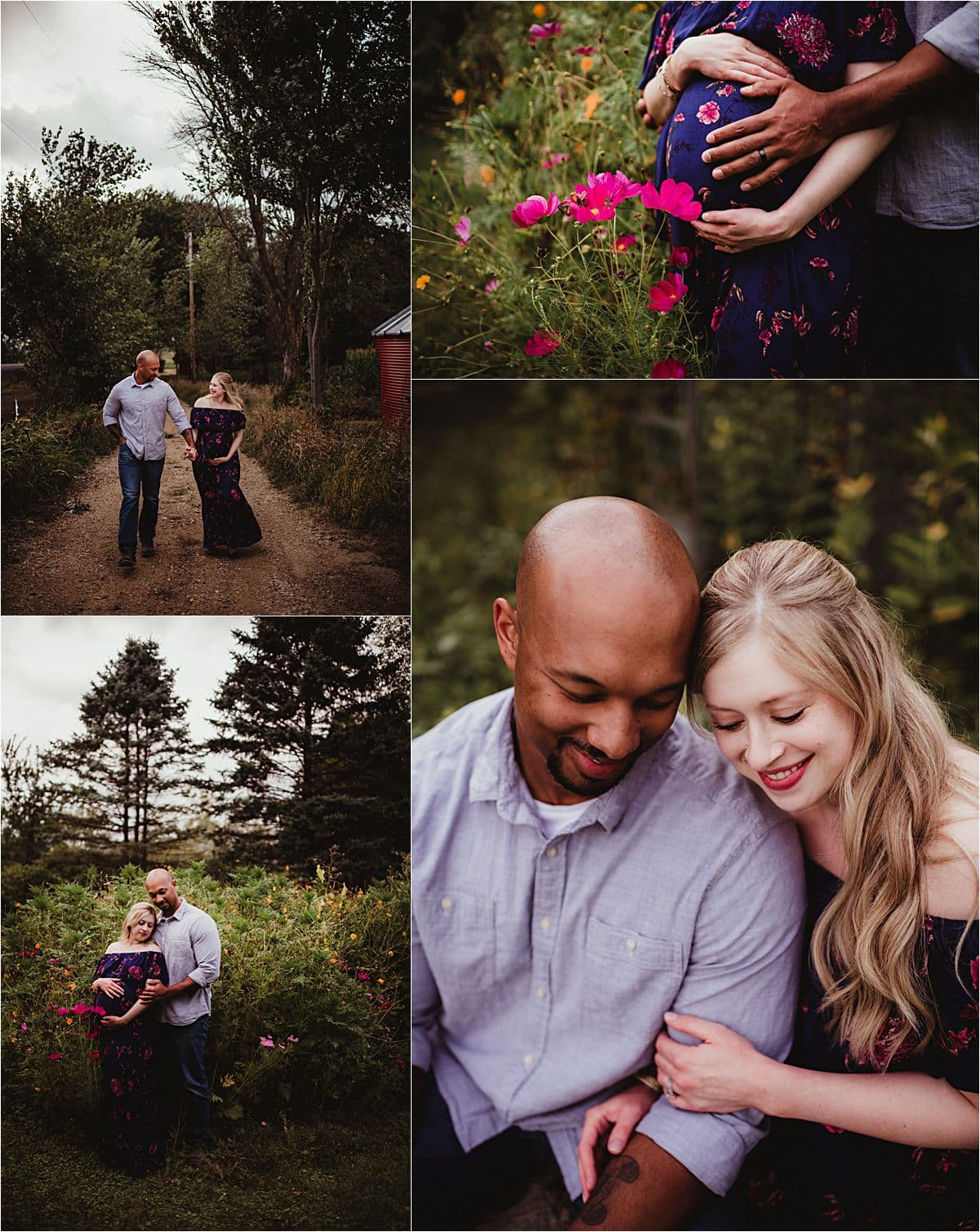 Collage Maternity Couple Snuggling