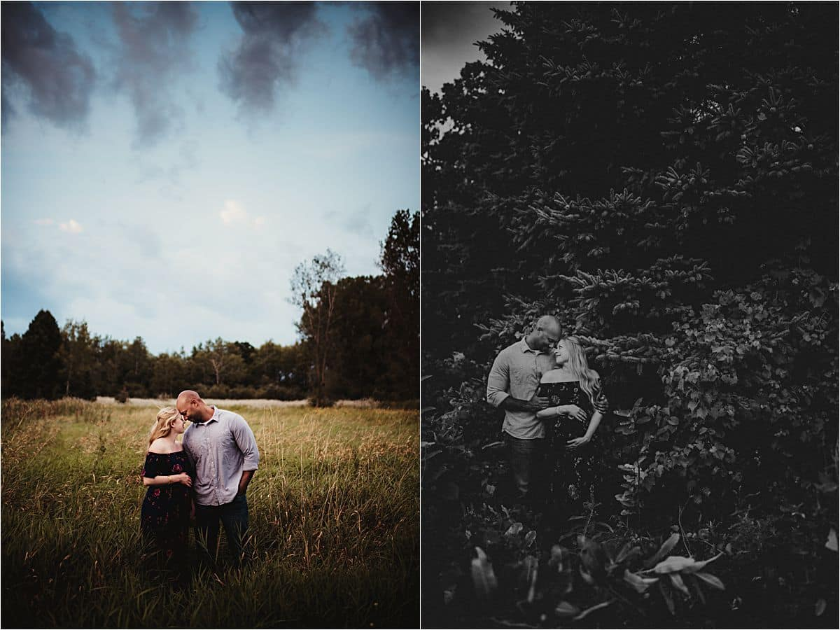 Moody Skies Maternity Session Couple in Field